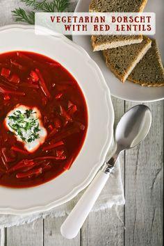Vegetarian borscht with red lentils Borscht, Lentils, Chili, Soup, Vegetarian, Culture, Red, Kitchens, Chile