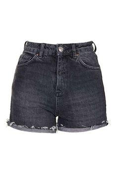 MOTO Black Ecru Girlfriend Shorts - Clothing- Topshop USA