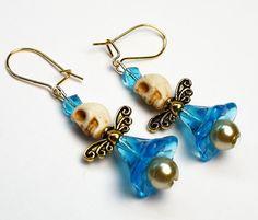 Sugar Skull Earrings Turquoise Blue Angel Wings Frida by Exgalabur