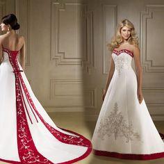 94941819b1 Robe de mariée blanc/rouge en satin taille 6-8-10-12. Fehér Esküvői  RuhákMenyasszonyi ...