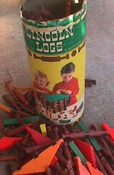 Lincoln Logs A Blast from my past, handed down to my kids and will surely be introduced to my Grandkids.  I still love them; my Daddy gave me a new set for Christmas the first year I was married.
