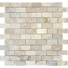 kitchen backsplash idea - rustic travertine, thinking this might be a nice fit and flexible for future color/decor changes ~ Home Depot MS International 1 in. x 2 in. Chiaro Brick Travertine Mosaic Floor & Wall Tile, $8.48 each 12x12 tile piece