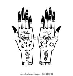 Vintage Hands with Old Fashion Tattoos. Sketch graphic illustration with mystic and occult hand drawn symbols. Vector illustration. Halloween, astrological and esoteric concept.