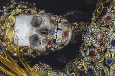 "St. Albertus (Burgrain, Germany) | ""The skeleton arrived in the town's small church dedicated to St. George in the early 18th century and was sumptuously decorated by a local nun."""