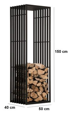 Firewood Rack IRVING Black Metal Log Basket Stand Holder Firepalce Wood Storage