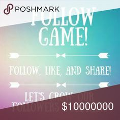 New goal!!!  ❤😘 Welcome to my first follow game!! I reached my goal of 8,000!! Thanks to all the wonderful poshers!!!! My NEW goal is to reach 10,000!!   It's simple! Just like his post, follow everyone who liked this post and then share to your followers!   Don't forget to follow your host!! Thanks in advance!! 💖💖💖 PINK Victoria's Secret Tops Sweatshirts & Hoodies