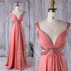 2016 Coral Pleated Chiffon Bridesmaid Dress, Deep V Neck Sequin Wedding Dress, A Line Prom Dress, V Back Evening Gown Full Length (XQ025)