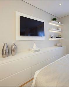 Bedroom Closet Design, Tv In Bedroom, Home Room Design, Home Decor Bedroom, Home Interior Design, Living Room Tv Unit Designs, Dream Rooms, Luxurious Bedrooms, House Rooms