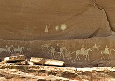 A Song for the Horse Nation - Spanish expedition pictograph. Nancy Nehring. Canyon de Chelly National Monument, Arizona