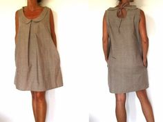 Sewing Pattern - Peter pan collar dress and drop in the back Linen Dress Pattern, Dress Patterns, Sewing Patterns, Sewing Clothes, Diy Clothes, Clothes For Women, Do It Yourself Fashion, Peter Pan Collar Dress, Make Your Own Clothes