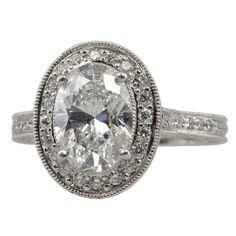Art Deco 1.98ct Oval Diamond Ring   Someone please tell Shavar that I like this!!!