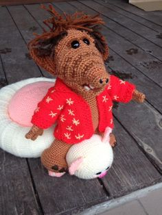 háčkovaný ALF Teddy Bear, Toys, Handmade, Animals, Activity Toys, Hand Made, Animales, Animaux, Clearance Toys