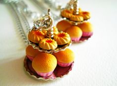 Romantic Cupcake Stand Necklace - Handmade Jewelry - Miniature food necklace - cupcakes cookies in Polymer clay. €20.00, via Etsy.