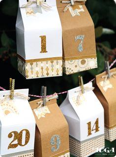 Calendrier de l'Avent Boîte à Lait « Or de Bombay » Advent Calenders, Diy Advent Calendar, Countdown Calendar, Diy Xmas, Handmade Christmas, Christmas Crafts, All Things Christmas, Christmas Time, Diy Calendario