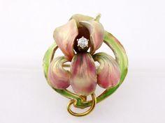 Art Nouveau Bippart & Co 14K Gold Enamel Diamond Large Iris Flower Watch Pin #BippartGriscomOsborn