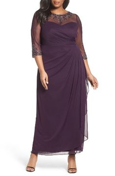 Free shipping and returns on Xscape Embellished Illusion Gown (Plus Size) at Nordstrom.com. Glittering rhinestones float on the sheer mesh bodice of an ankle-grazing gown, adding magical sparkle without revealing too much.