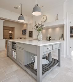 The kitchen island is the centrepiece of any kitchen. We have a breathtaking range of kitchen islands and each one is handcrafted bespoke for each project. Farmhouse Kitchen Island, Kitchen Islands, Shaker Kitchen, Farmhouse Kitchens, Modern Farmhouse, Country Kitchen, Tom Howley Kitchens, Gray And White Kitchen, Kitchen Grey