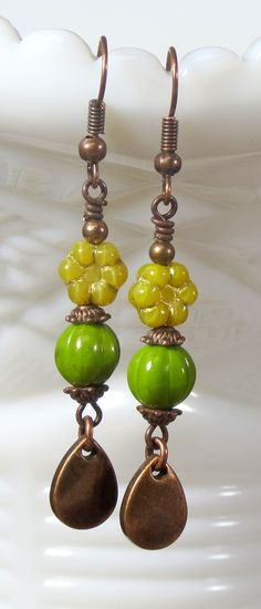 Unique long yellow and green rustic flower beaded dangle earrings, Bohemian Botanical Boho floral inspired jewelry. ONLY ONE get yours today.