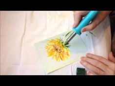 How to paint a sunflower - encaustic art - YouTube