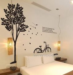 Big tree with bicycle--91x70nches --Removable Home Art Deco Mural Tree Wall Decals Vinyl wall decal Wall Stickers