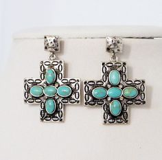 $9.99! COWGIRL Bling Silver SPANISH CROSS TURQUOISE NATIVE EARRINGS AMERICAN   #Unbranded #PIERCED