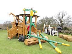 'Connie-the-combine' farm themed timber play equipment. Lee Valley Farm