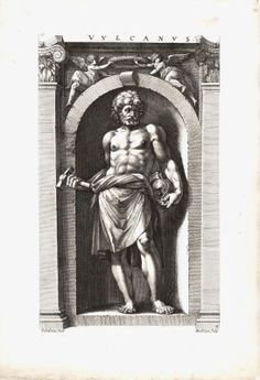 "Hendrik GOLTZIUS (1558–1617) Vulcanus [Vulcan/Hephaistos], 1592 After Polidoro da Caravaggio (c.1500–1536) From the series: Eight Deities Engraving on laid paper Lettered above ""VULCANUS"". In lower left corner ""Polidorus Inue"" and at right ""HGoltzius. Sculp.""."
