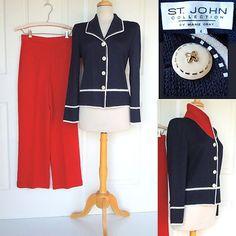 St. John Collection By Marie Gray ~ Pant Suit (Jacket/Blazer + Pants) ~ Santana Knit ~ NWOT Size 4 $295  SOLD!