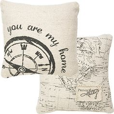 You Are My Home - Decorative Fabric Throw Pillow with Compass and Map Print - 10-in