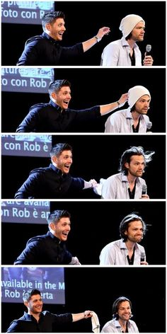 Jensen being so excited about taking off Jared's beanie. :)  It only took one frame for the magic hair to activate!
