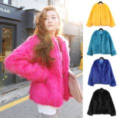 Womens Round Neck Long Sleeve Circling Hairy Shaggy Faux Fur Jacket Coat Fashion #Unbranded #BasicCoat