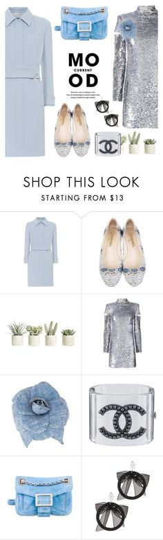 """Ice, ice, baby"" by pensivepeacock ❤ liked on Polyvore featuring Current Mood, Prada, Chanel, Allstate Floral, Helmut Lang, Roger Vivier and Fallon"