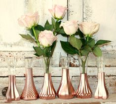 Rose Gold vases, gold wedding decor, Set of 6 rose gold dipped vases and, gold…