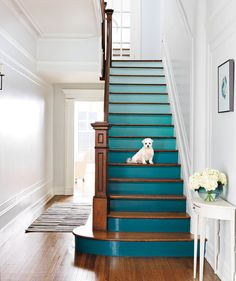 Stairs | Tired of your old furniture? There's no need to throw it out and splurge on something new. Just purchase some paint for a striking update.