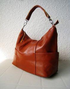 Leather hobo Jolie medium brown---Shoulder bag/ Tote/ Handbag/