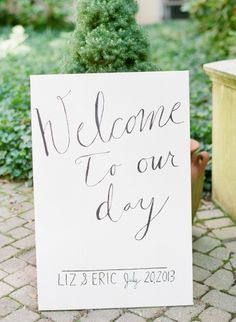 Adorable wedding sign: http://www.stylemepretty.com/2013/11/20/a-maryland-estate-wedding-from-jodi-miller-photography/ | Photography: Jodi Miller - http://jodimillerphotography.com/
