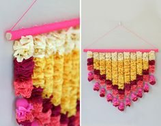 Use crepe paper to make this gorgeous wall hanging.