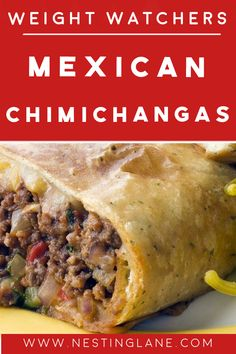 Weight Watchers Mexican Chimichangas Recipe with ground turkey. Only 95 calories, and 2 WW Smart Points (Green Plan). Weight Watcher Dinners, Plan Weight Watchers, Weight Watchers Casserole, Weight Watchers Ground Turkey Recipe, Ground Turkey Recipes, Ww Recipes, Mexican Food Recipes, Healthy Recipes, Tortilla Recipes