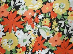 Yellow and Orange Floral Print Pure Cotton by fabricsandtrimmings, $4.66