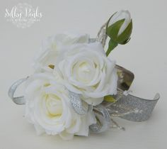White & Silver Wrist Corsage Rose Corsage Wedding by SilkyPinks