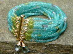 Apatite Multi-Strand Beaded Bracelet/Peridot Tanzanite Sapphire/Semi-Precious Gemstone Cuff/Aquamarine Briolettes/14K Gold Filled Clasp on Etsy, $300.00