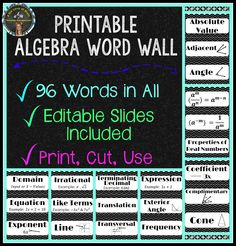 Printable Algebra Word Wall Strips. 96 words included. Editable strips are also available in a PowerPoint presentation to make it easy to create additional words! ($)