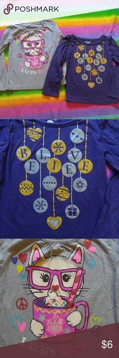 Long sleeve Winter tops Two super cute long sleeve Winter themed tees. Both have sparkly details and are size 6. Purple has ruffled shoulders. Both also have spandex and are a bit stretchy. Gently used condition Kids Korner Shirts & Tops Tees - Long Sleeve