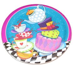 These Mad Hatter tea party plates are just perfect for an Alice in Onederland birthday party or tea party for any age.  ** 9-inch lunch plates  ** 8 heavyweight paper plates per order  ** arrive still sealed in manufacturers packaging  ** Coordinate perfectly with the matching dessert plates and beverage napkins in our shop (See Photo #2)  Check out our entire line of ALICE IN WONDERLAND party supplies: https://www.etsy.com/shop/PartyParts?ref=hdr_shop_menu&search...