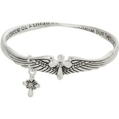 Heirloom Finds Angel Wings Serenity Prayer Silver Tone Crystal Twist Bracelet with Cross Charm