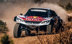 Download wallpapers Peugeot 3008DKR Maxi, 2018 cars, Rally Car, Dakar, movement, Peugeot
