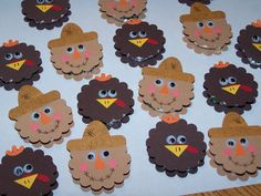 Scarecrow and Turkey Patties by klbolling - Cards and Paper Crafts at Splitcoaststampers candygifts Thanksgiving Projects, Thanksgiving Treats, Thanksgiving Cards, Turkey Patties, Punch Art Cards, Paper Punch, Halloween Cards, Halloween Halloween, Vintage Halloween