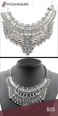 "Rhinestone Statement Necklace Beautiful jeweled rhinestone necklace. Approx 23"" with a 5"" extender Jewelry Necklaces"