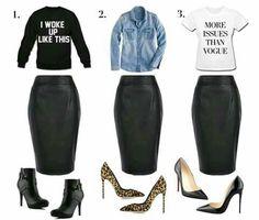 Black Leather Skirt. 3 Ways.