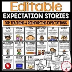 PBIS Classroom Management Expectation Stories | EDITABLE | TpT Classroom Expectations Poster, Voice Level Charts, Voice Levels, Math Tools, Student Behavior, Think Happy Thoughts, Substitute Teacher, Good Student, Positive Behavior